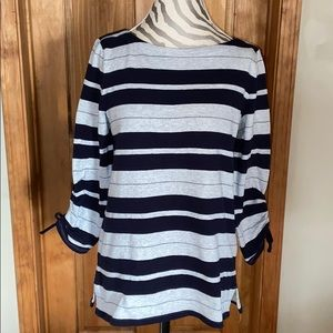 Talbots navy and gray sweater